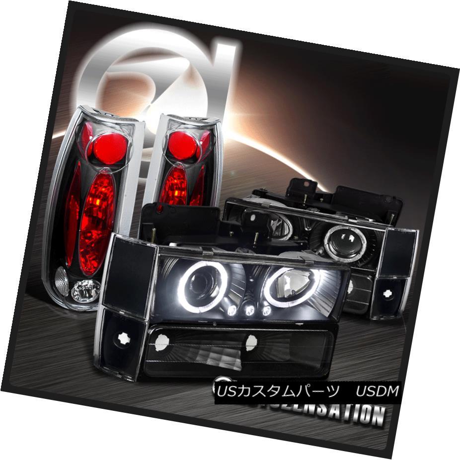 ヘッドライト 88-93 C/K C10 Black Halo Projector Headlights+Corner Bumper Lamps+Tail Lights 88-93 C / K C10ブラックハロープロジェクターヘッドライト+コーナーその他バンパーランプ+テールライト