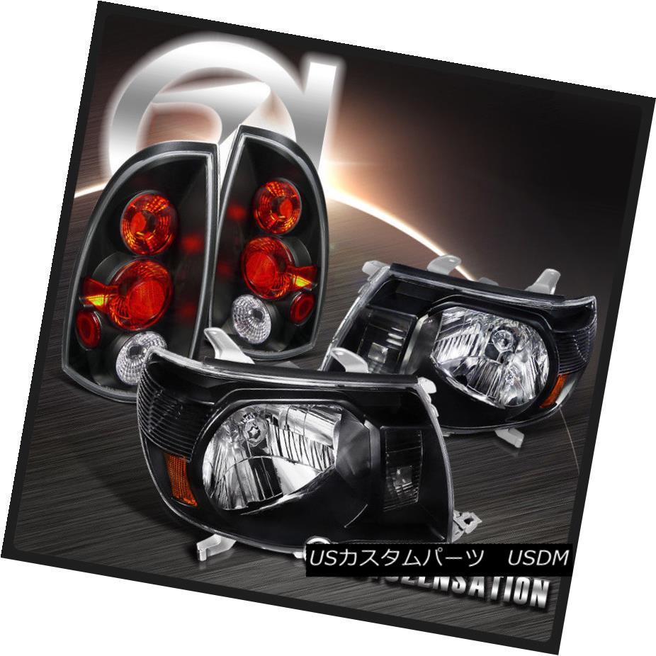 ヘッドライト For 05-08 Toyota Tacoma JDM Diamond Black Headlights+Rear Tail Brake Lamps 05-08用トヨタタコマJDMダイヤモンドブラックヘッドライト+リア rテールブレーキランプ
