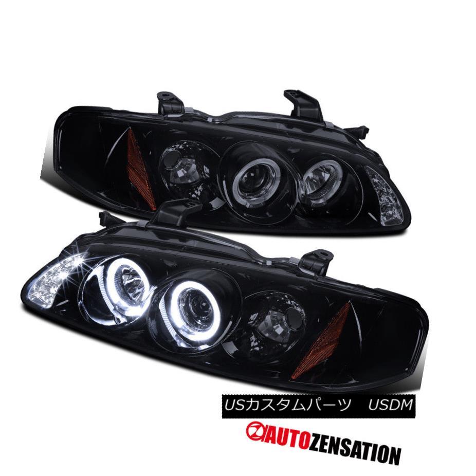 ヘッドライト Fit 00-03 Sentra [Glossy Black] LED DRL Halo Projector Headlights Fit 00-03 Sentra [光沢のある黒] LED DRLハロープロジェクターヘッドライト