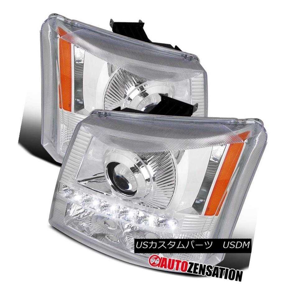 ヘッドライト 03-07 Chevy Silverado Avalanche 2in1 Chrome Projector Headlights SMD LED DRL 03-07シボレーシルバラードアバランシェ2in1クロームプロジェクターヘッドライトSMD LED DRL