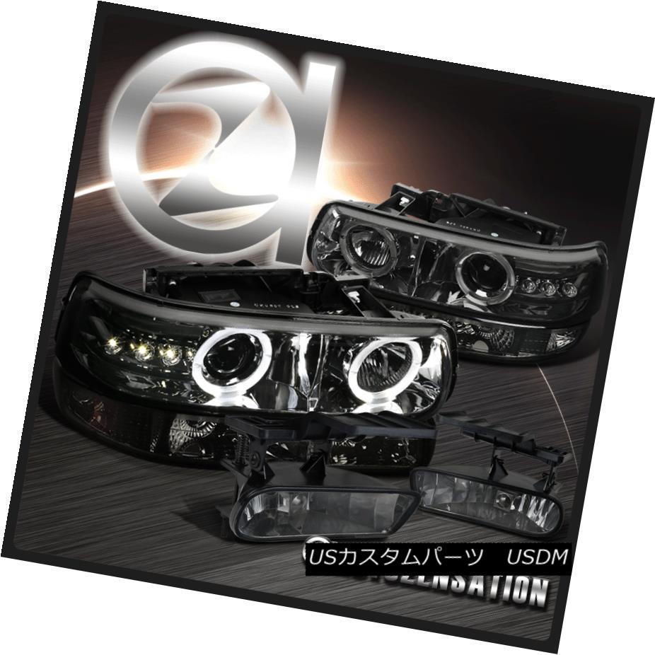 ヘッドライト 99-02 Silverado Dual Halo LED Chrome Smoke Projector Headlights+Bumper+Fog Lamps 99-02 Silverado Dual Halo LEDクロームスモークプロジェクターヘッドライト+ブーム +フォグランプ