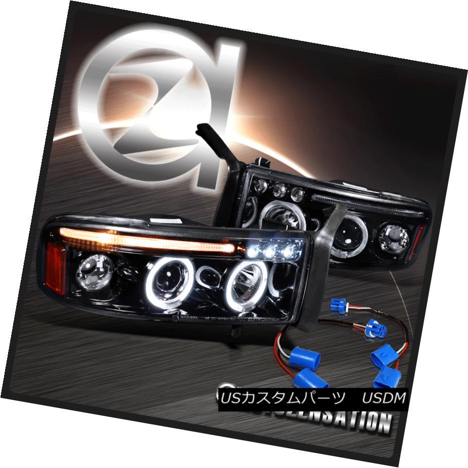 ヘッドライト 94-01 Dodge Ram Sport Package Glossy Black LED DRL Halo Projector Headlights 94-01 Dodge Ramスポーツパッケージ光沢のある黒色LED DRLハロープロジェクターヘッドライト
