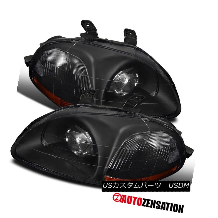 ヘッドライト For 1996-1998 Honda Civic 2/3/4Dr Black Projector Headlights Retrofit Style Pair 1996-1998 Honda Civic 2/3 / 4Drブラックプロジェクターヘッドライト改造スタイルペア