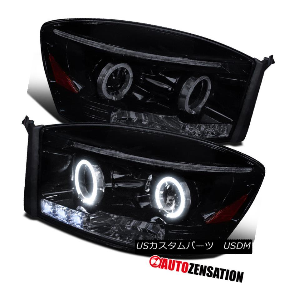 ヘッドライト 06-08 Dodge Ram 1500/2500/3500 Glossy Black LED Halo Projector Headlights 06-08 Dodge Ram 1500/2500/3500光沢のある黒色LEDハロープロジェクターヘッドライト