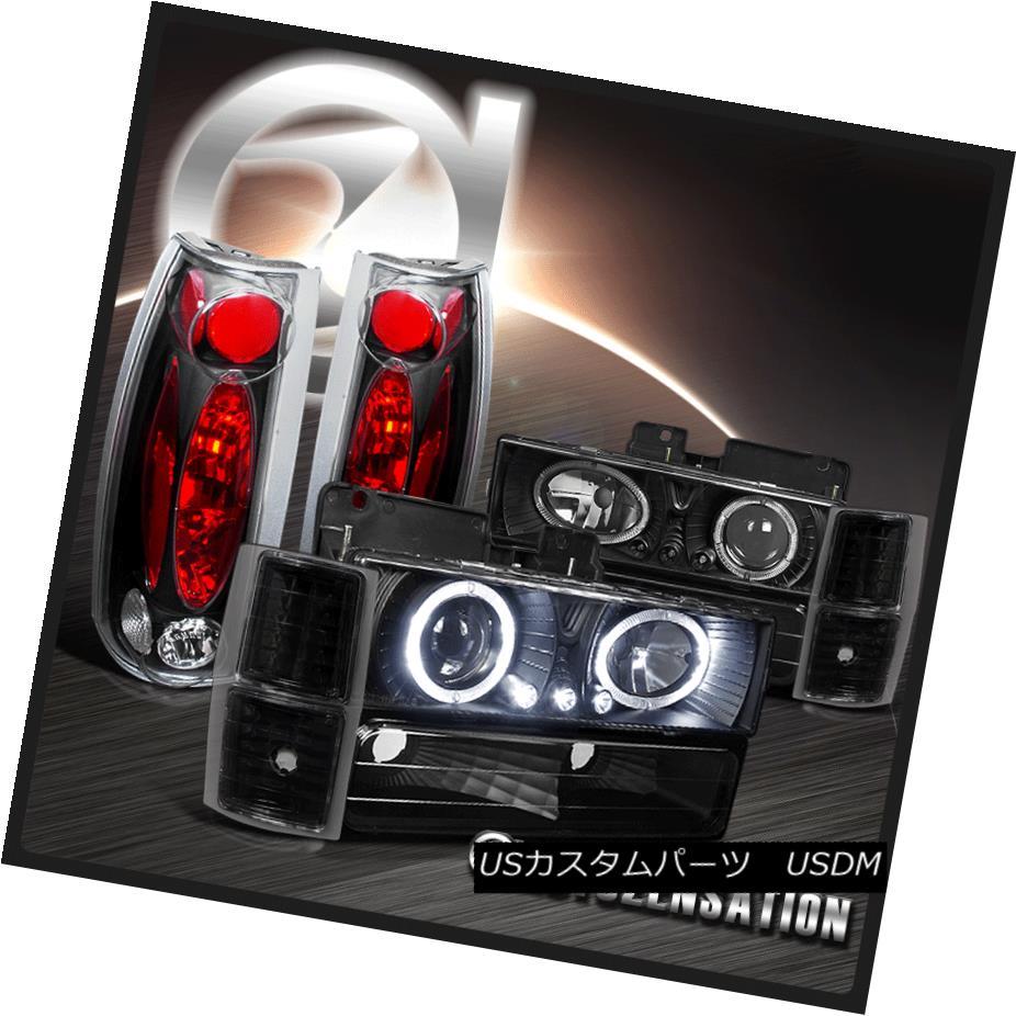 ヘッドライト 95-98 Chevy Tahoe Black Halo LED Projector Headlights Corner Bumper Tail Lamps 95-98 Chevy Tahoe Black Halo LEDプロジェクターヘッドライトコーナーバンパーテールランプ