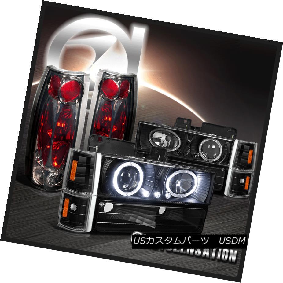 ヘッドライト 94-98 GMC Sierra 1500 2500 Black Halo LED Projector Headlights+Smoke Tail Lamps 94-98 GMC Sierra 1500 2500ブラックハローLEDプロジェクターヘッドライト+スモーキー keテールランプ