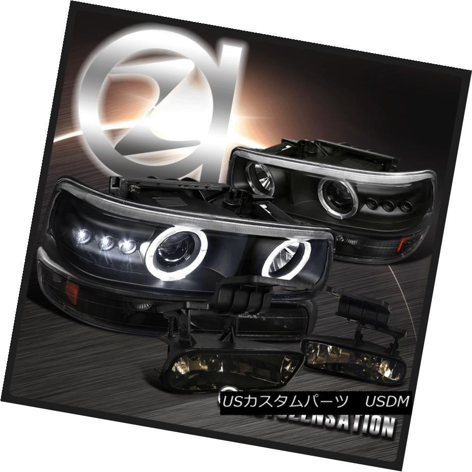 ヘッドライト 99-02 Silverado Black LED Halo Projector Headlights+Bumper Lamps+Smoke Fog Lamps 99-02 Silverado Black LED Haloプロジェクター・ヘッドライト+バーン 、ランプ+スモーク・フォグ・ランプ