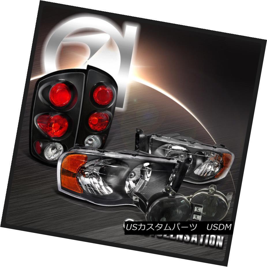 ヘッドライト 02-05 Dodge Ram Black Crystal Headlights+Tinted Fog DRL+Tail Lamps 02-05ダッジラムブラッククリスタルヘッドライト+錫テッドフォグDRL +テールランプ