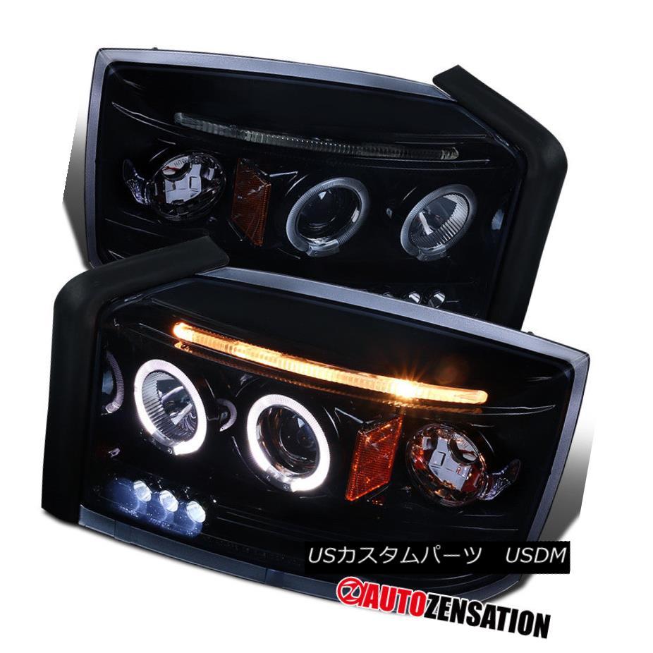 ヘッドライト 05-07 Dodge Dakota Glossy Black Halo LED DRL Projector Headlights Smoke Lamps 05-07ダッジダコタ光沢ブラックハローLED DRLプロジェクターヘッドライトスモークランプ