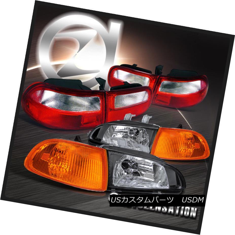 ヘッドライト For 92-95 Civic 3DR Black Crystal Headlights+Amber Corner+Red Clear Tail Lamps 92-95シビック3DRブラッククリスタルヘッドライト+アンバー コーナー+レッドクリアテールランプ