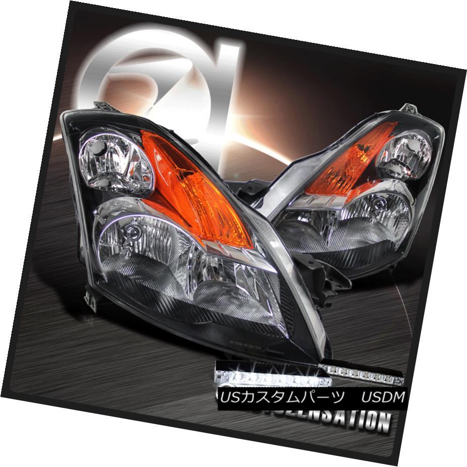 ヘッドライト For 2007-2009 Nissan Altima 4 Door Black Clear Headlights+6-LED Bumper Fog Lamp 日産アルティマ4ドアブラッククリアヘッドライト+ 6-L  EDバンパーフォグランプ