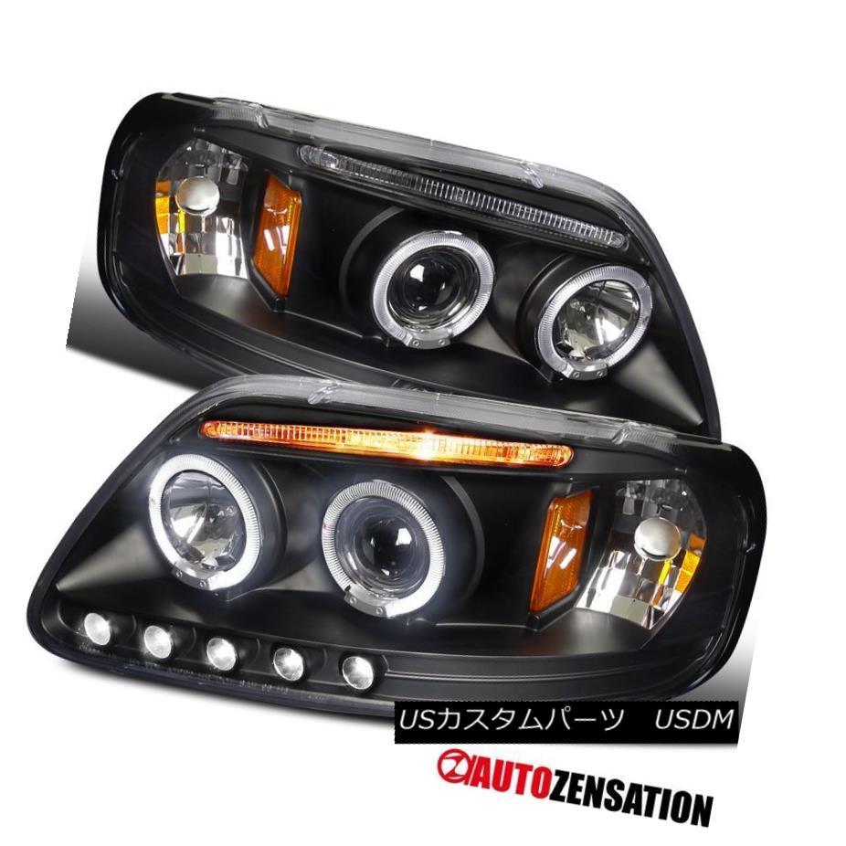 ヘッドライト LED DRL Halo Projector Headlights Black FOR 97-03 Ford F150/ 97-02 Expedition LED DRLハロープロジェクターヘッドライトブラックfor 97-03 Ford F150 / 97-02遠征