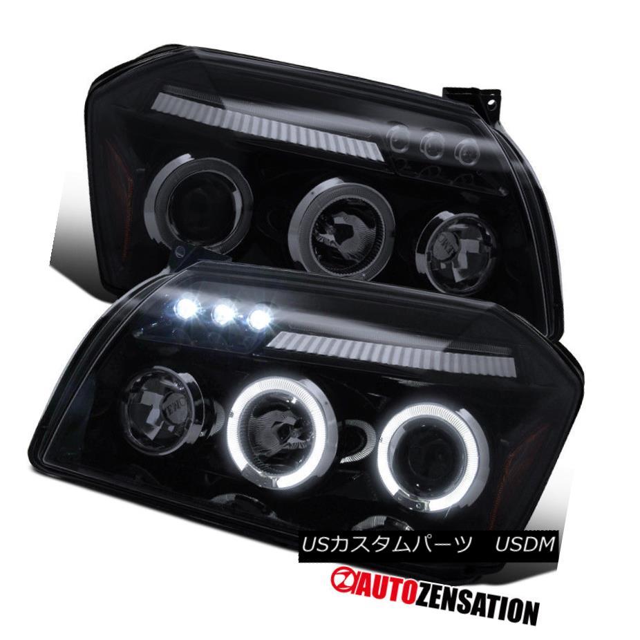 ヘッドライト 05-07 Dodge Magnum Glossy Black Smoke Lens Dual Halo LED Projector Headlights 05-07ダッジマグナム光沢ブラックスモークレンズデュアルハローLEDプロジェクターヘッドライト