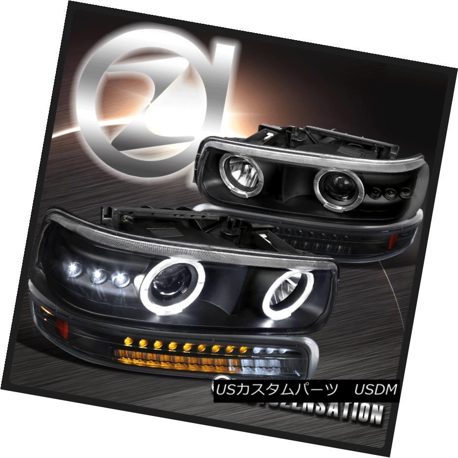 ヘッドライト 99-02 Silverado 00-06 Tahoe Black LED Projector Headlights+LED Bumper Lights 99-02 Silverado 00-06タホブラックLEDプロジェクターヘッドライト+ LEDバンパーライト