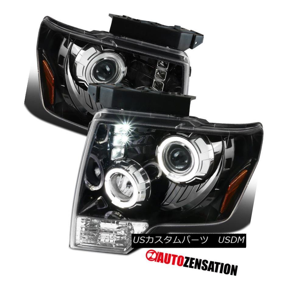99-06 Sierra 00-06 Yukon XL Slick Black Halo Projector Headlights+Bumper Lamps