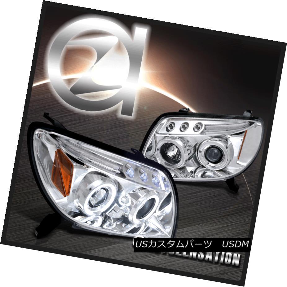 ヘッドライト For 03-05 Toyota 4Runner Chrome LED DRL Halo Projector Headlights 03-05用トヨタ4RunnerクロムLED DRLハロープロジェクターヘッドライト