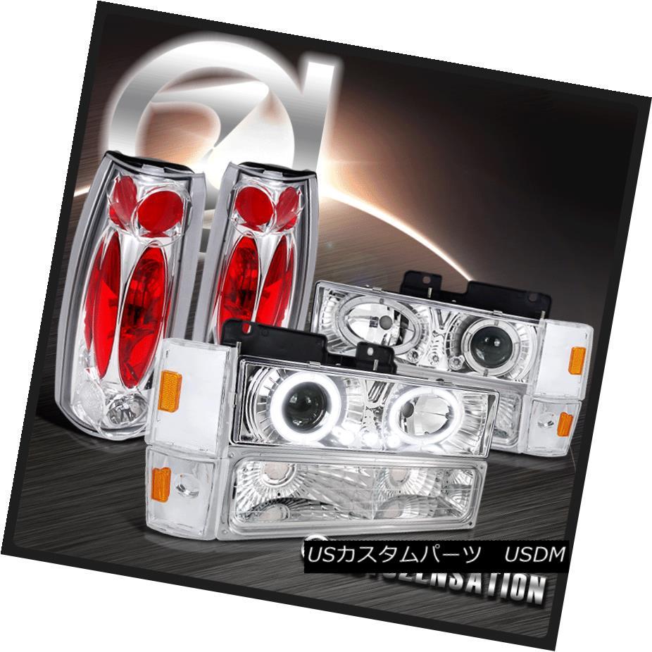ヘッドライト 88-93 C/K C10 Pickup Chrome Projector Headlights+Corner Bumper Lamps+Tail Lights 88-93 C / K C10ピックアップクロームプロジェクターヘッドライト+コーナーナンパバンパーランプ+テールライト