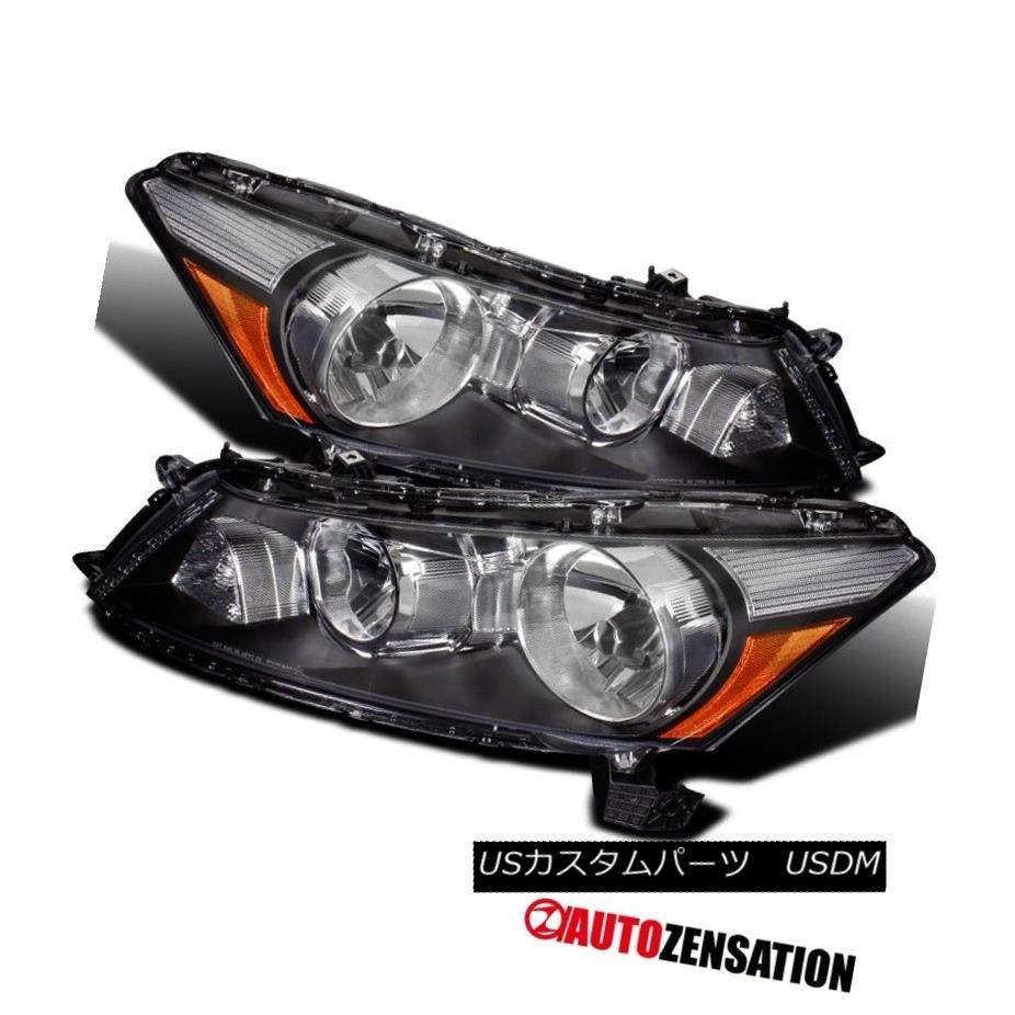 ヘッドライト For 08-12 Honda Accord 4dr Sedan Black Crystal Headlights w/ Amber Reflector 08-12ホンダアコード4drセダンブラッククリスタルヘッドライト(アンバーリフレクター付)