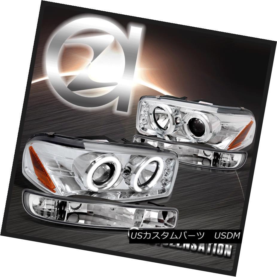 ヘッドライト 00-06 GMC Sierra/ Yukon XL Chrome Clear Projector Headlights & Bumper Lights 00-06 GMC Sierra / Yukon XLクロームクリアプロジェクターヘッドライト& バンパーライト
