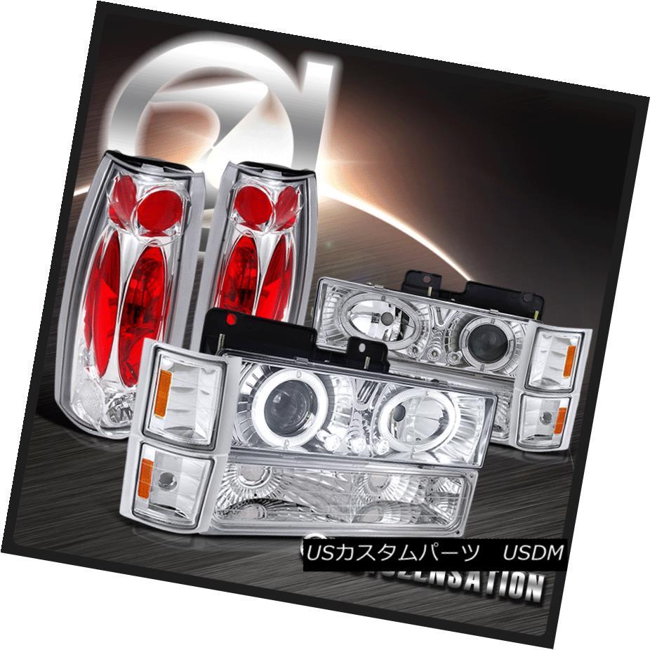 ヘッドライト 94-98 Chevy C10 C/K Tahoe Chrome Halo LED Projector Headlights+Tail Lamps 94-98シボレーC10 C / KタホクロムハローLEDプロジェクターヘッドライト+タイ lランプ