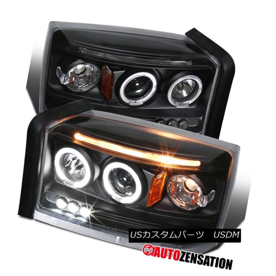 ヘッドライト 05-07 Dodge Dakota Black Halo LED DRL Projector Headlights 05-07ダッジダコタブラックハローLED DRLプロジェクターヘッドライト