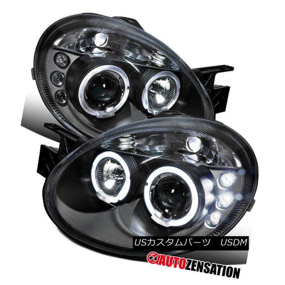 ヘッドライト 03-05 Dodge Neon Black LED DRL Halo Projector Headlights 03-05 Dodge Neon Black LED DRLハロープロジェクターヘッドライト