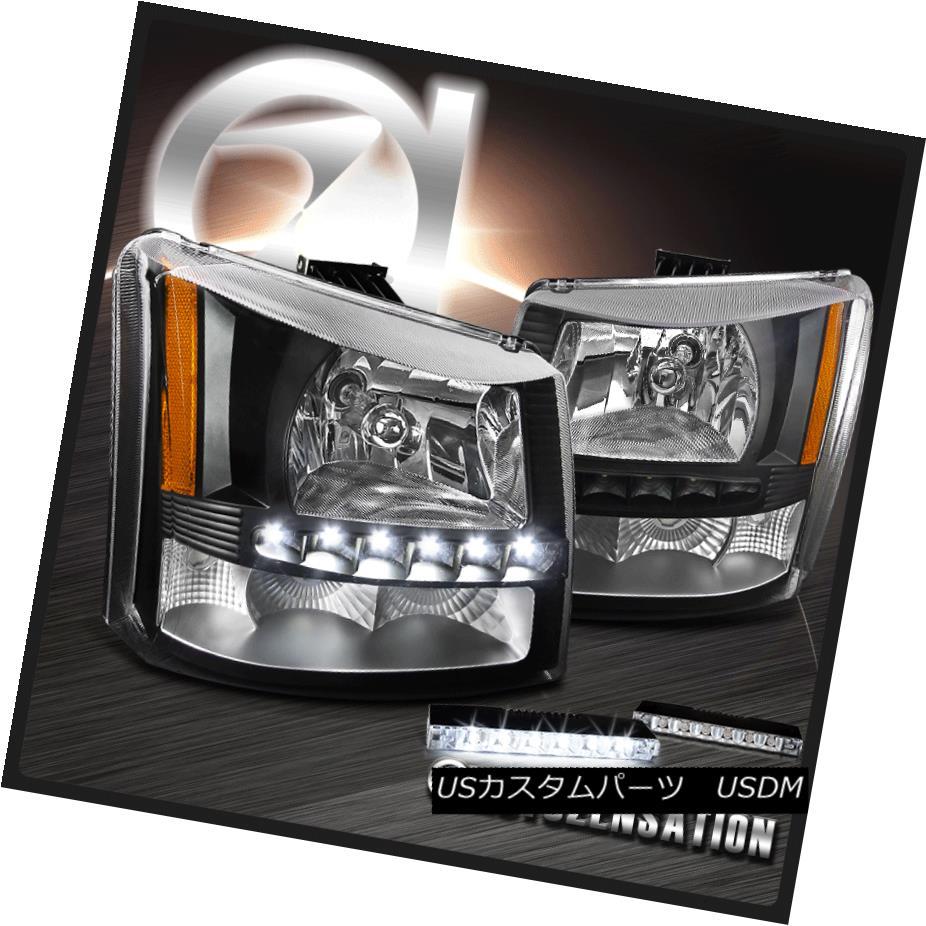 ヘッドライト 03-07 Chevy Silverado 1PC Black Headlights SMD w/LED DRL Bumper Lamps 03-07シボレーシルバラード1PCブラックヘッドライトSMD LED DRLバンパーランプ