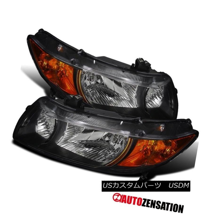 ヘッドライト For 2006-2011 Honda Civic 2Door Coupe Black Clear Headlights w/ Amber Reflector 2006年から2011年のホンダシビック2ドアクーペブラッククリアヘッドライト/アンバーリフレクター