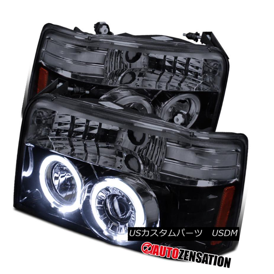 ヘッドライト 92-96 F150 F250 F350 Bronco Glossy Black Halo Projector Headlights 92-96 F150 F250 F350ブロンコグロッシーブラックハロープロジェクターヘッドライト