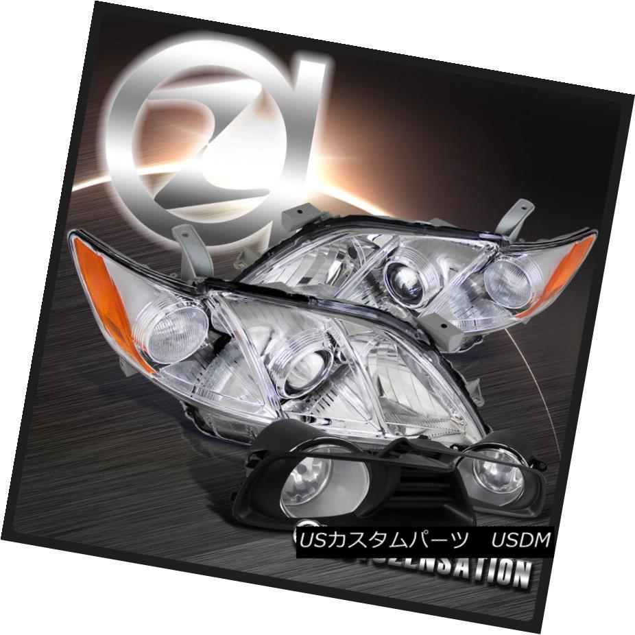 ヘッドライト For 07-09 JDM Camry Crystal Chrome Projector Headlights+Clear Bumper Fog Lamps 07-09 JDM Camryクリスタルクロムプロジェクターヘッドライト+ Cle  arバンパーフォグランプ