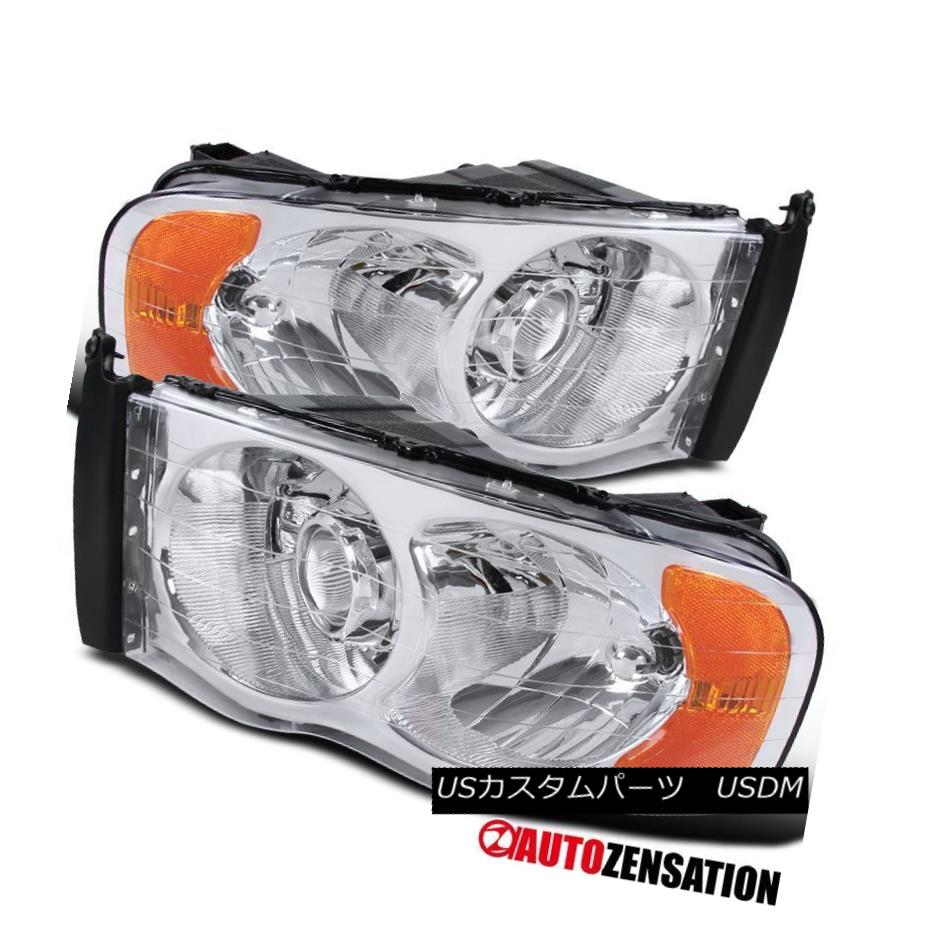 ヘッドライト Dodge Ram 02-05 1500 03-05 2500/3500 Chrome Clear Projector Headlights+Bulbs Dodge Ram 02-05 1500 03-05 2500/3500 Chrome Clearプロジェクターヘッドライト+ Bul  bs