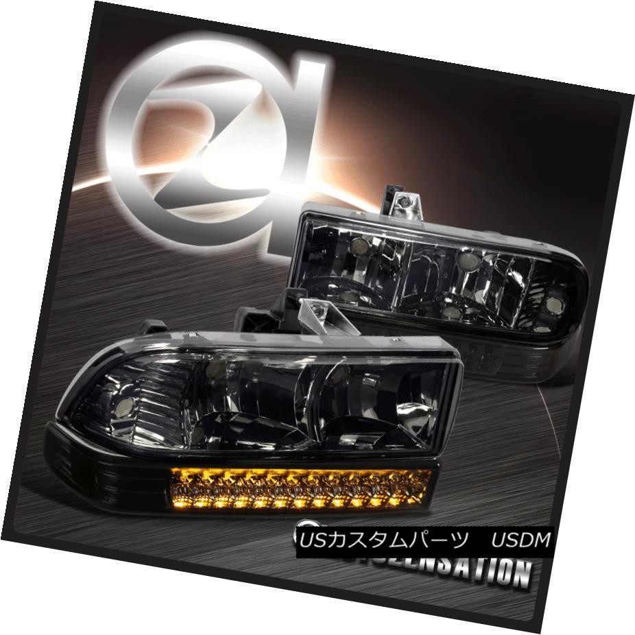 ヘッドライト 1998-2004 Chevy S10 Pickup Blazer Smoke Headlights+LED Bumper Lamps 1998-2004シボレーS10ピックアップブレザースモークヘッドライト+ LEDバンパーランプ