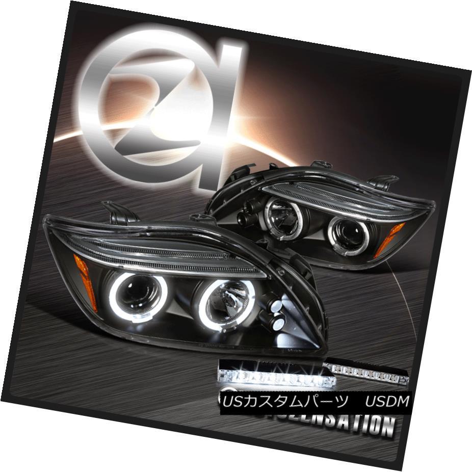 ヘッドライト 05-10 Scion tC LED Halo Projector Headlights Black Pair+6-LED Bumper DRL 05-10 Scion tC LEDハロープロジェクターヘッドライトブラックペア+ 6 LEDバンパーDRL