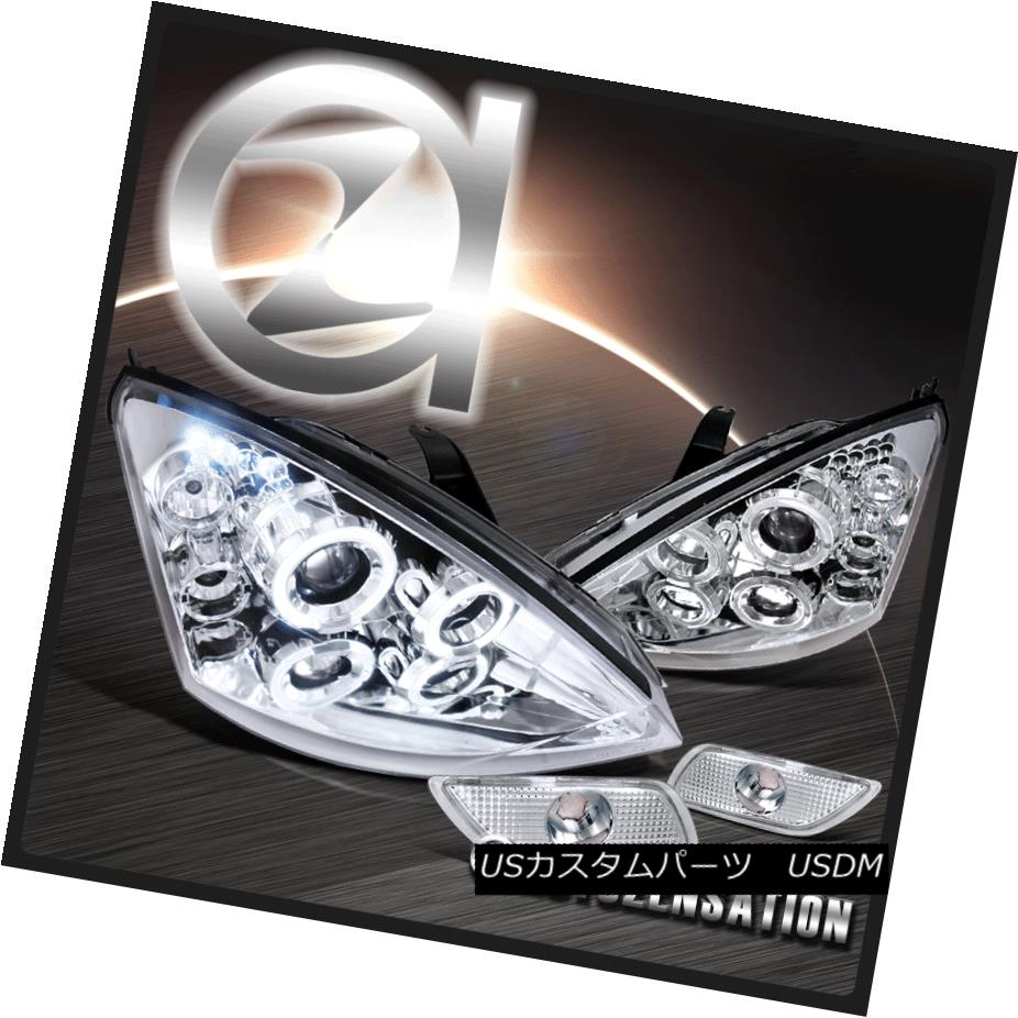 ヘッドライト 00-04 Ford Focus Chrome Halo LED Projector Headlights+Bumper Side Marker 00-04フォードフォーカスクロームハローLEDプロジェクターヘッドライト+サイドマーカーごとのバーン