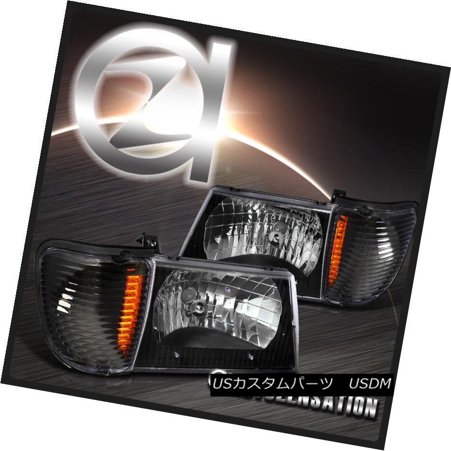 ヘッドライト 1992-2007 Ford Econoline Van Black Headlights+Corner Parking Lamp+Amber 1992-2007フォード・エコノリン・ヴァン・ブラック・ヘッドライト+ Cor  nerパーキングランプ+アンバー