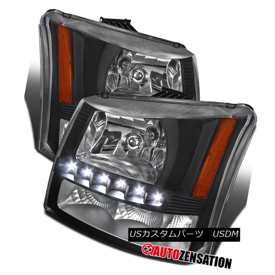 ヘッドライト 03-07 Chevy Silverado Black SMD LED DRL Clear Headlights Bumper Lights 03-07シボレーシルバラードブラックSMD LED DRLクリアヘッドライトバンパーライト