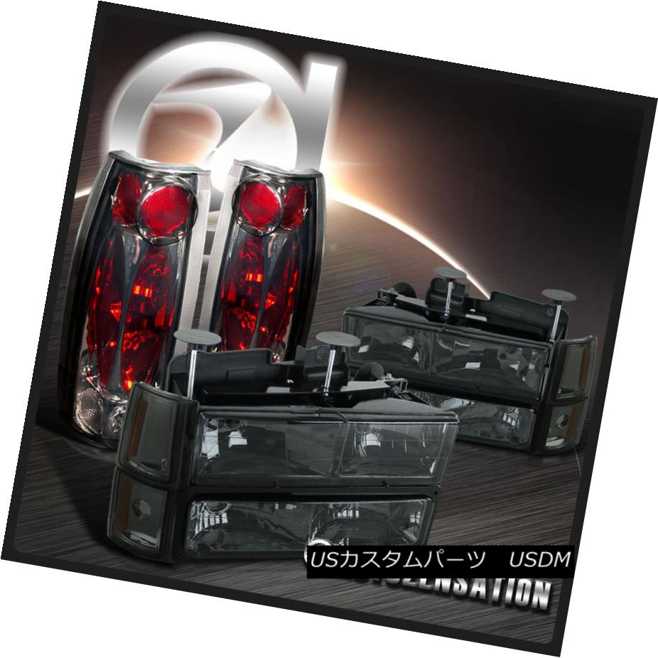 ヘッドライト 94-98 GMC C10 1500 Smoke Lens Headlights+Bumper Corner Lamps+Clear Tail Lights 94-98 GMC C10 1500スモークレンズヘッドライト+ブール /コーナーランプ+クリアテールライト