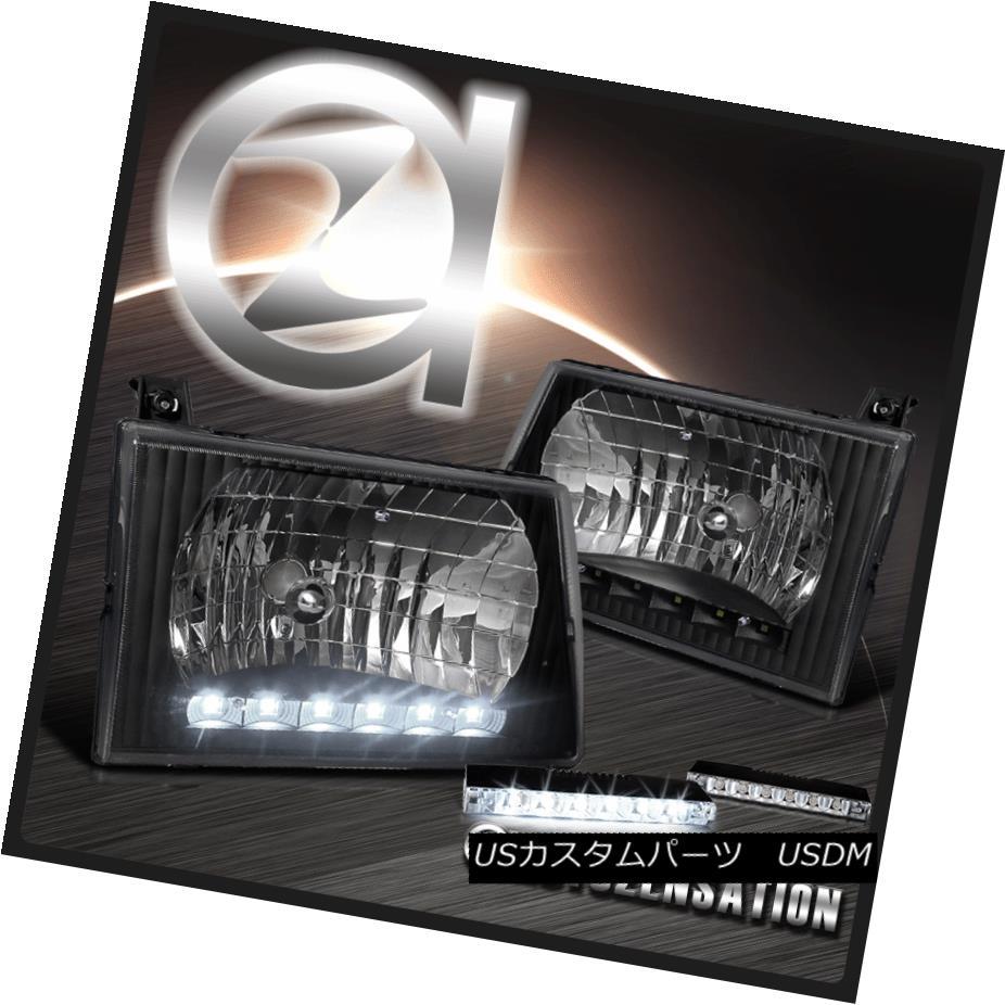 ヘッドライト Ford 92-07 E150 250 350 450 Econoline Van Black DRL Headlights+6-LED Fog Lamps フォード92-07 E150 250 350 450 Econoline Van DRLヘッドライト+ 6-L  EDフォグランプ