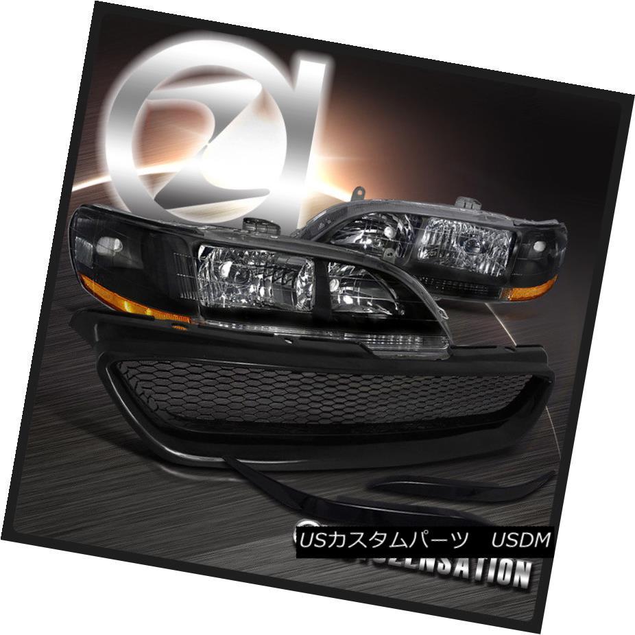 ヘッドライト Fit 98-02 Honda Accord 2DR Coupe Black Headlights+ABS Eyelids+Mesh Hood Grille フィット98-02ホンダアコード2DRクーペブラックヘッドライト+ ABSアイライド+メッシュフードグリル