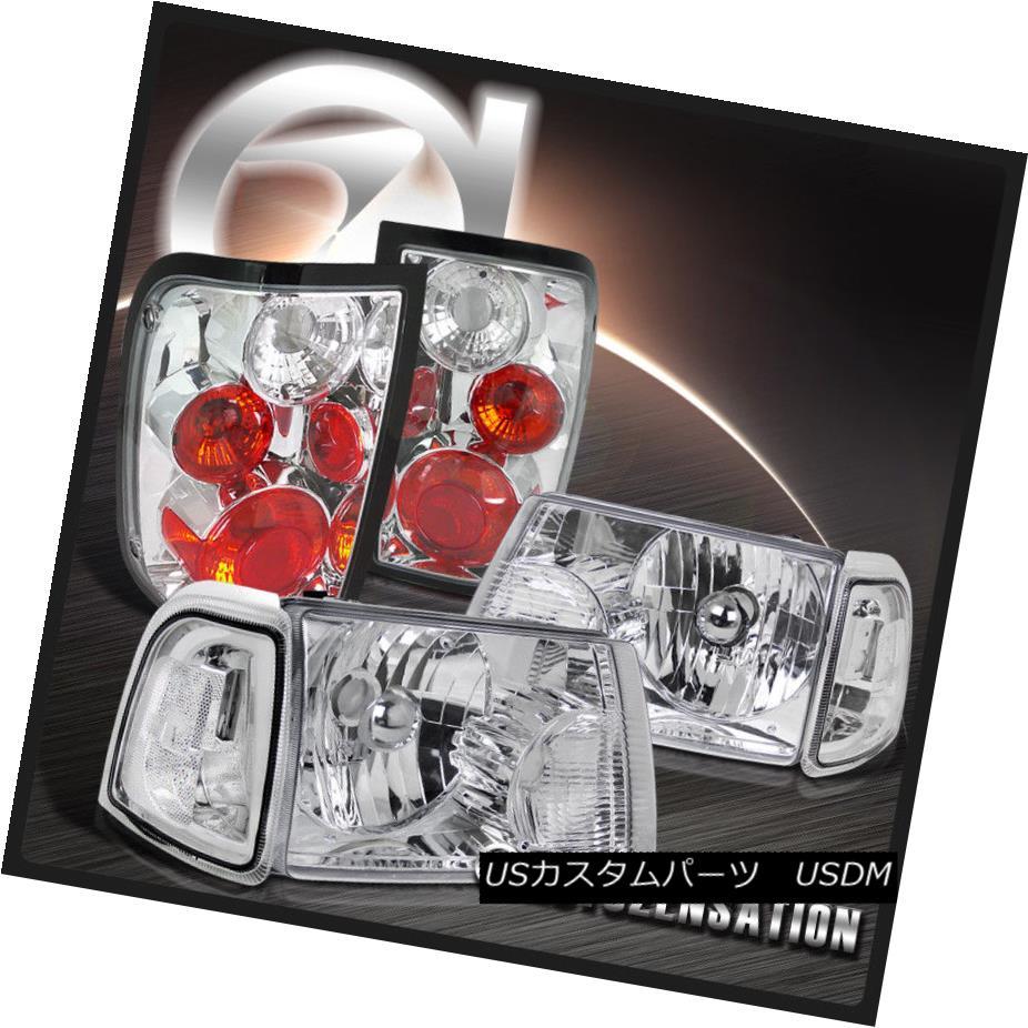 ヘッドライト 01-05 Ranger Chrome Clear Headlights+Corner Signal Lamps+Tail Brake Lights 01-05レンジャークロームクリアヘッドライト+ Cor  ner信号ランプ+テールブレーキライト