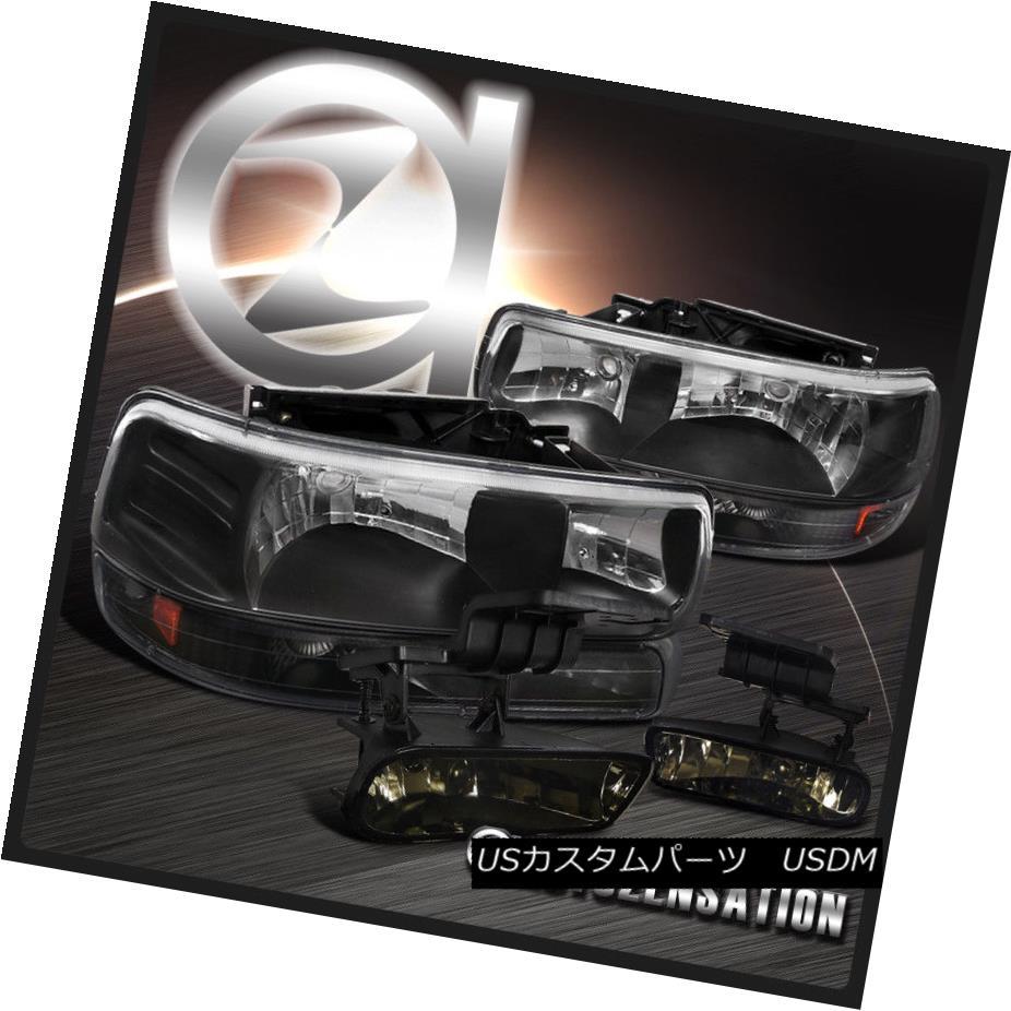 ヘッドライト 99-02 Silverado 00-06 Tahoe Suburban Black Headlight+Bumper Light+Smoke Fog Lamp 99-02 Silverado 00-06タホ郊外のブラックヘッドライト+バンプ erライト+スモークフォグランプ
