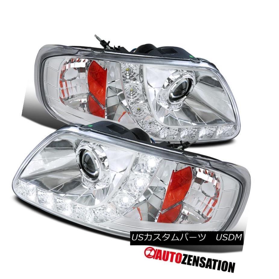 ヘッドライト Ford 97-03 F150 97-02 Expedition Chrome Clear LED DRL Strip Projector Headlights フォード97-03 F150 97-02遠征クロームクリアLED DRLストリッププロジェクターヘッドライト