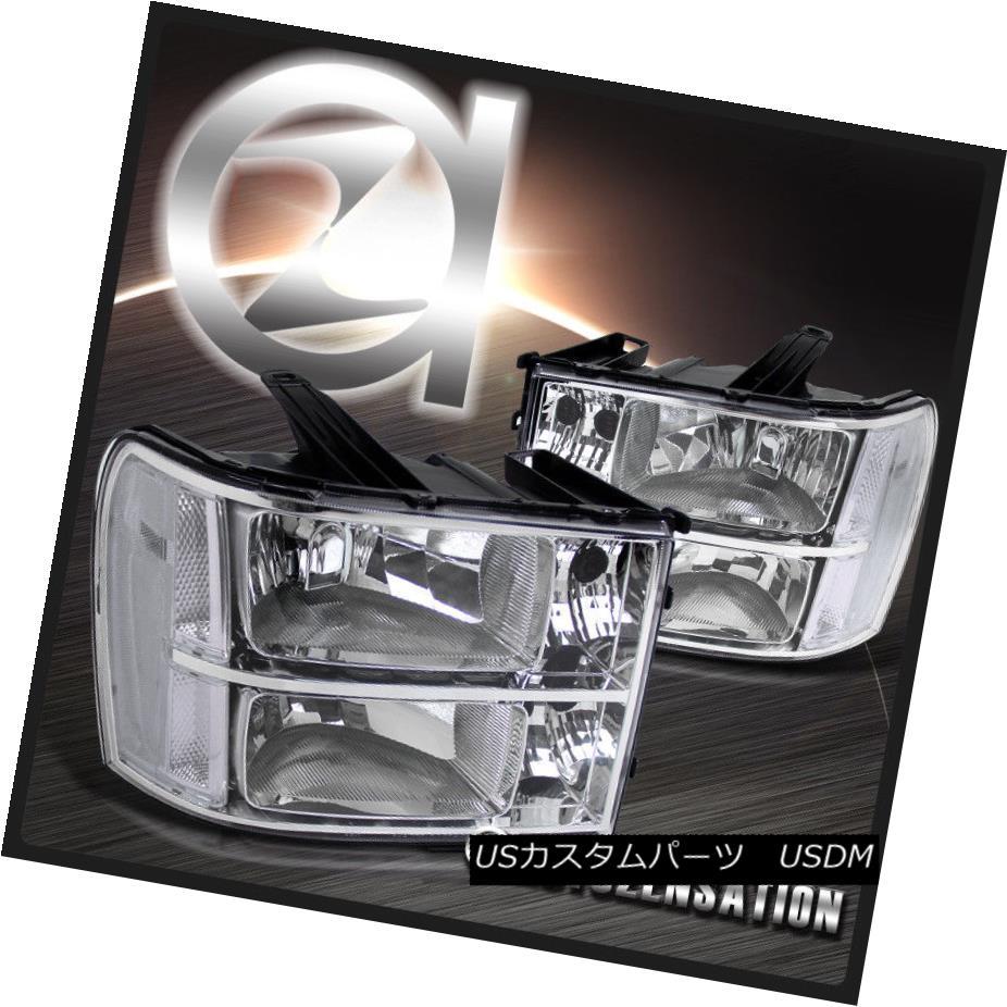 ヘッドライト 07-13 Sierra 1500 2500 3500HD Euro Crystal Chrome Clear Headlights Pair 07-13 Sierra 1500 2500 3500HDユーロクリスタルクロームクリアヘッドライトペア