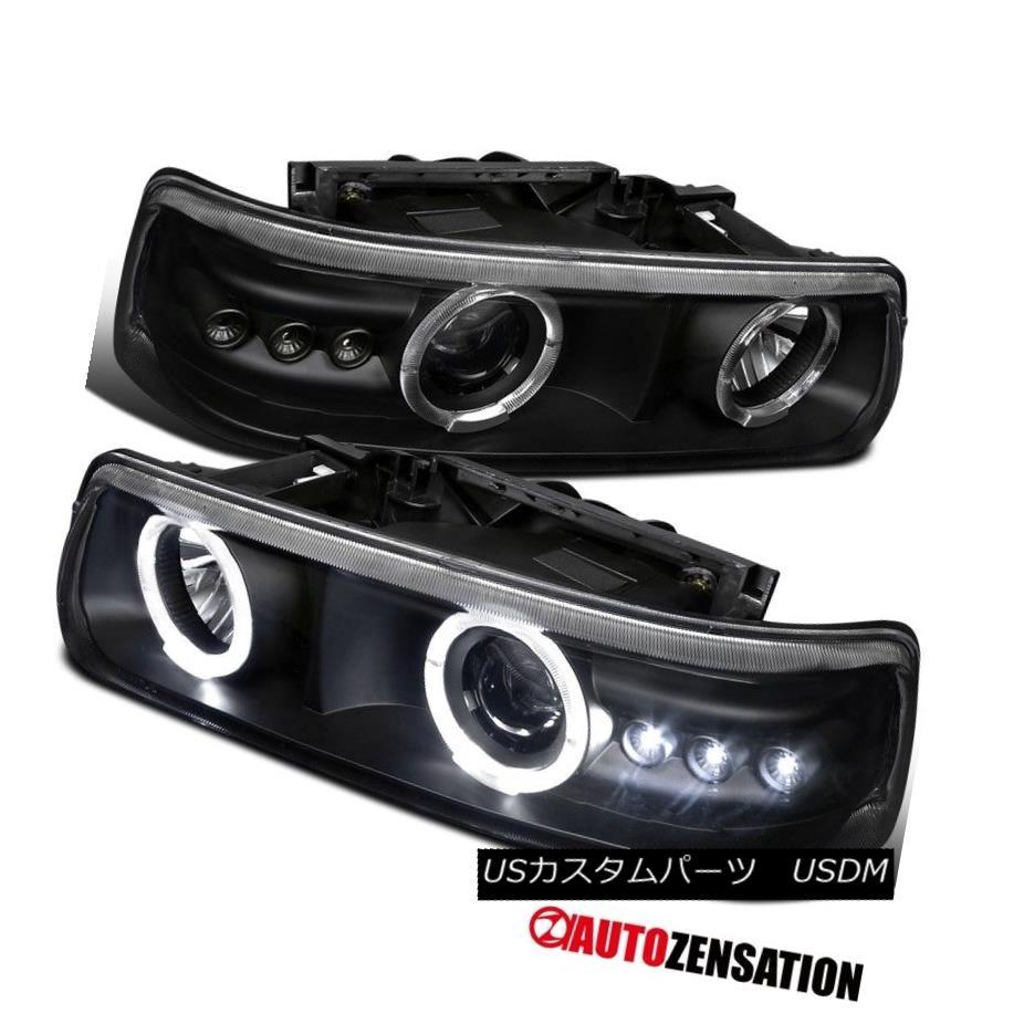 ヘッドライト Euro Black 99-02 Silverado 00-06 Suburban Tahoe SMD LED Halo Projector Headlight ユーロブラック99-02シルバラード00-06郊外タホSMD LEDハロープロジェクターヘッドライト