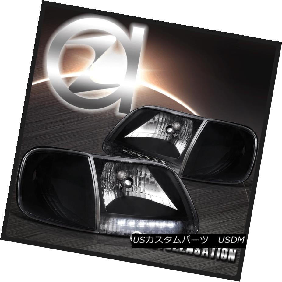 ヘッドライト 97-03 Ford F150/ Expedition LED Black Headlights & Corner Signal Lights 97-03 Ford F150 /遠征LEDブラックヘッドライト& コーナー信号ライト