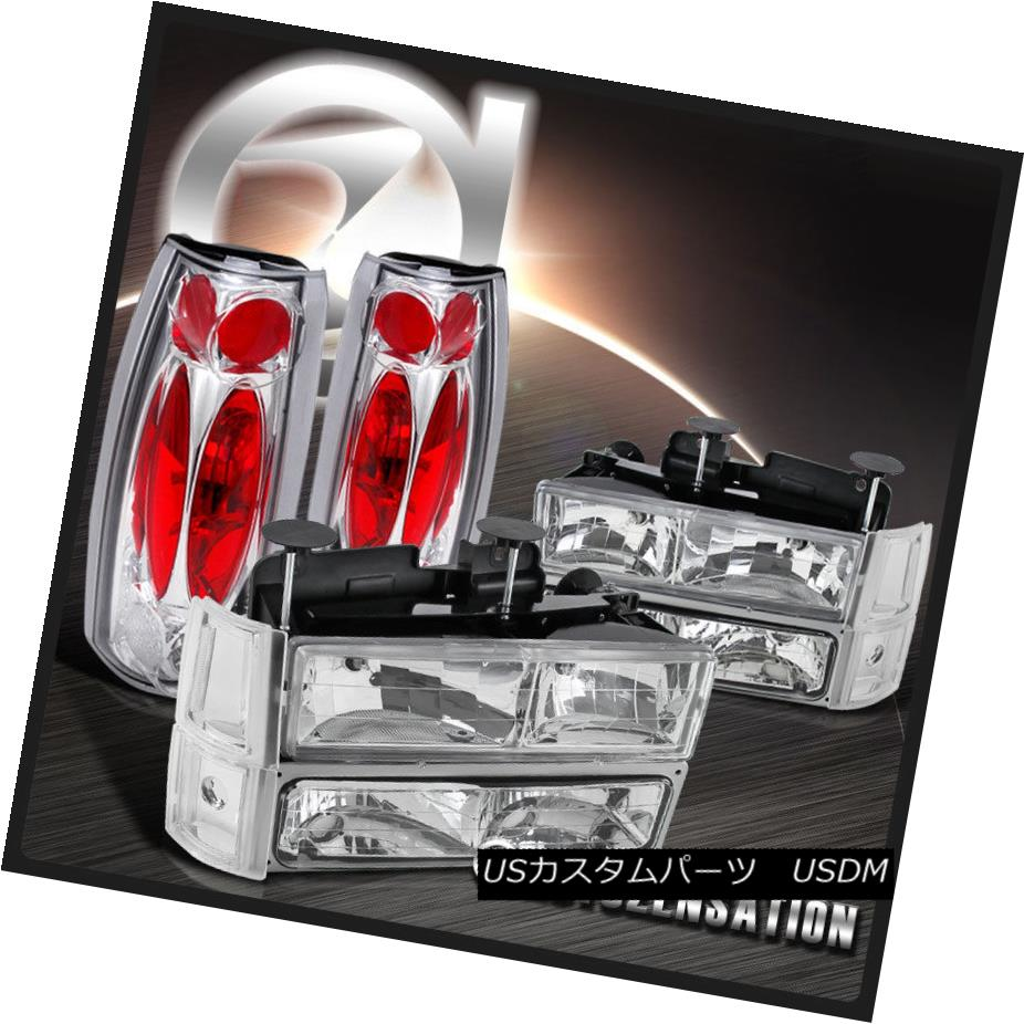 ヘッドライト 94-98 GMC Sierra Chrome CLear Headlights+Bumper Corner Lamps+Clear Tail Lights 94-98 GMC Sierra Chrome Clearヘッドライト+ Bum 、コーナーランプ+クリアテールライト