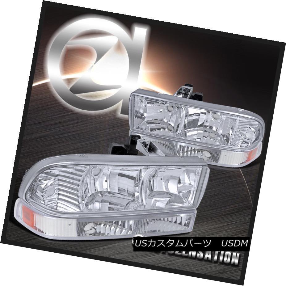 ヘッドライト 1998-2004 Chevy S10 Blazer Pickup Clear Crystal Headlights+Bumper Lamps+Amber 1998-2004 Chevy S10 Blazerピックアップクリアクリスタルヘッドライト+ Bum ランプ/アンバー
