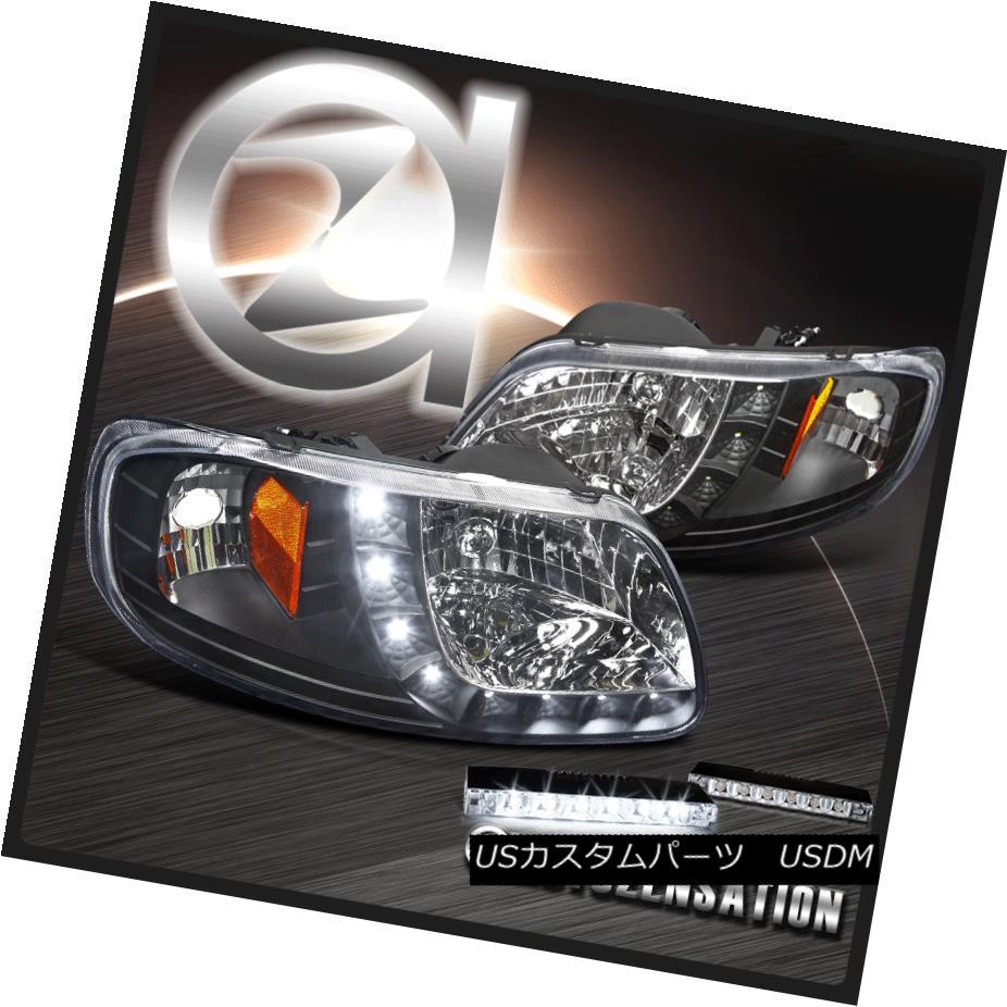 ヘッドライト 93-03 Ford F150 Black SMD LED Stripe Headlights+6-LED Bumper Fog Lamps 93-03フォードF150ブラックSMD LEDストライプヘッドライト+ 6-L  EDバンパーフォグランプ
