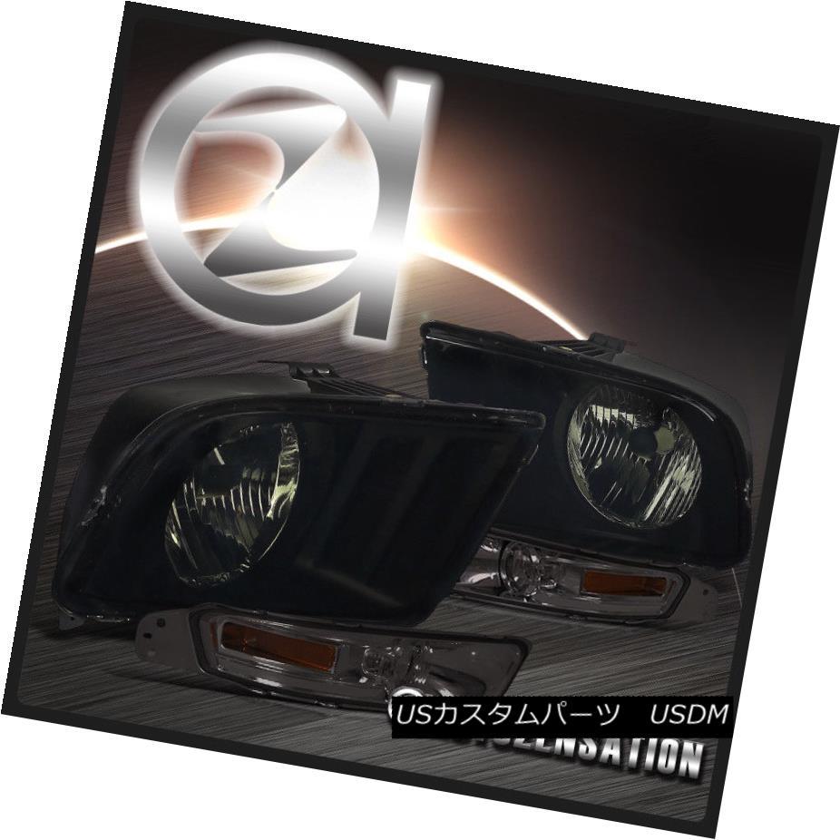 ヘッドライト 2005-2009 Ford Mustang GT 2DR Coupe Smoke Headlights+Tinted Bumper Lamps Pair 2005-2009フォードマスタングGT 2DRクーペ煙ヘッドライト+錫 tedバンパーランプペア