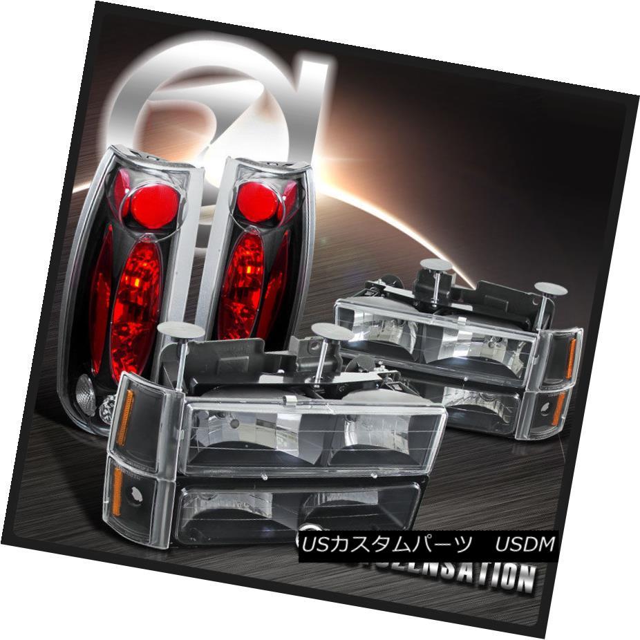 ヘッドライト 94-98 GMC C10 1500 Black Clear Headlights+Bumper Corner Lamps+Clear Tail Lights 94-98 GMC C10 1500ブラッククリアヘッドライト+ Bum  /コーナーランプ+クリアテールライト